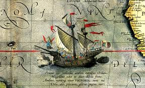 a map of file detail from a map of ortelius magellan s ship png