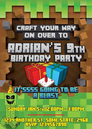 minecraft birthday invitations minecraft birthday invitation sle invitations online