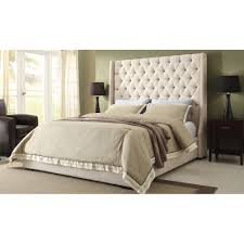 tufted headboard nailhead trim bed grey upholstered wingback frames beds with nailhead trim