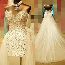 dresses vintage lace short wedding dresses bling crystal beads two