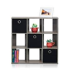 amazon com furinno 13207gy bk simplistic 9 cube organizer with