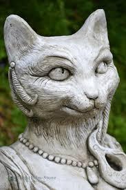 cat garden ornament bust