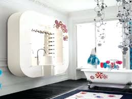 bathroom modern bright blue and yellow design with dark sink kids