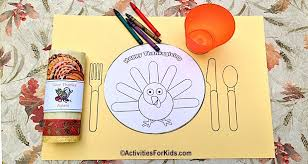printable thanksgiving placemat for