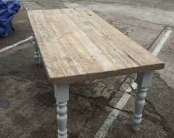 farmhouse dining table with reclaimed wood top and bench made