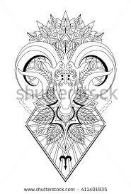 aries mandala tattoo designhorn sheep line stock vector 411401935