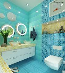 backsplash tile pattern layouts for elegant blue bathroom with