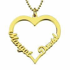 gold plated name necklace customized heart name necklace 18k gold plated