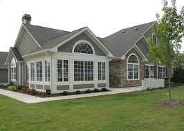 one story house with tall entrance attached garage are all