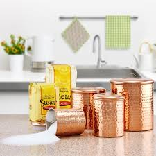 copper kitchen canisters hammered copper 4 canister set free shipping