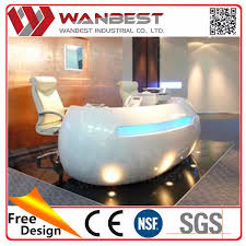 salon front desk furniture modern white and red color solid surface nail salon reception desk