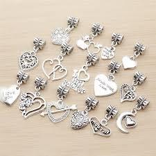 pandora style bracelet diy images Mix 30pcs vintage heart charm big hole beads fit for pandora style jpg