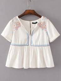 baby doll blouses white embroidery detail babydoll blouse shein sheinside