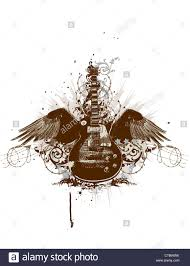 flying guitar with wings and grunge background stock photo royalty