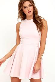 cute light pink dress skater dress funnel neck dress 49 00