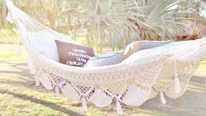 white crochet hammock on the hunt