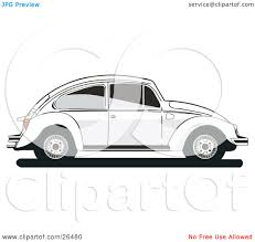 volkswagen bug drawing clipart illustration of a white volkswagen bug car in profile