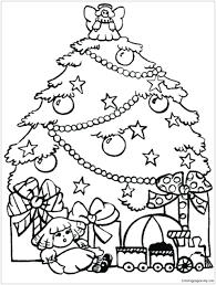 coloring page of christmas tree with presents coloring page christmas trees coloring pages presents and tree