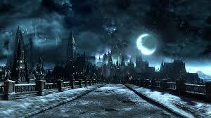 dark village wallpaper wallpaper video games monochrome night moon village castle
