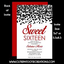 red carpet hollywood glitter sweet 16 birthday invitations 16