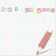 Sketch Birthday Card A Pencil Sketch Birthday Card On Paper Royalty Free Cliparts