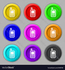mobile phone icon sign symbol on nine round vector image