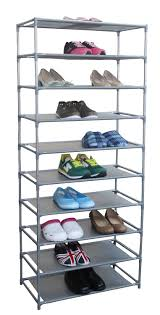 amazon com home basics free standing shoe rack 10 tier 24 6