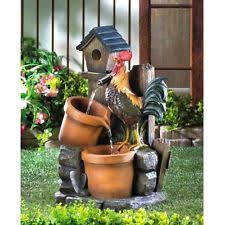 Country Garden Decor Home Locomotion Rooster Water Fountain Ebay