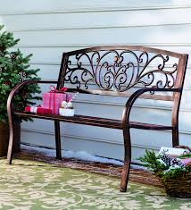 amazon com plow u0026 hearth blooming patio garden bench park yard