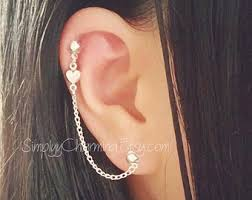 earring with chain to cartilage cartilage chain earring