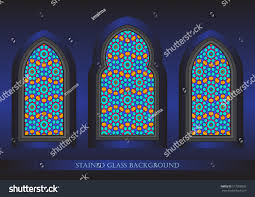 ancient stained glass ornamental windows stock vector 577358503