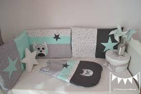 chambre de bébé gris et blanc tour lit gigoteuse turbulette gris vert d eau vert menthe blanc