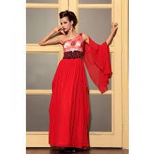 classic red long dress one shoulder with elegant belt at belonda
