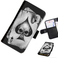 skull 02 cards ace spade printed leather wallet flip cover