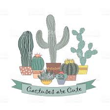 cute succulents vector card design with cactuses in pots cute succulents stock