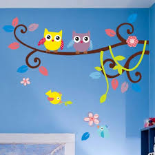 Nursery Owl Wall Decals Owl Singing On Branches With Birds Owl Wall Decal Nursery
