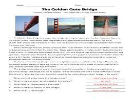 Reading Comprehension Worksheets 4th Grade Reading Comprehension The Golden Gate Bridge 4th 5th Grade