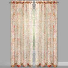 persia paisley print voile sheer window curtains set of 2