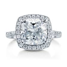 sterling silver cushion cubic zirconia cz halo engagement - Cubic Zirconia Halo Engagement Rings