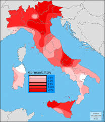 Map Of Calabria Italy by Map Of Germanic Y Dna In Italy By Passa