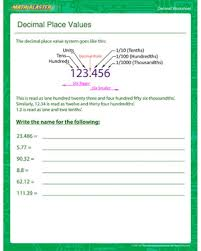 place value with decimals worksheets 5th grade decimal place values free decimal worksheet math blaster