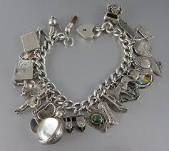 vintage charm bracelet with 27 charms