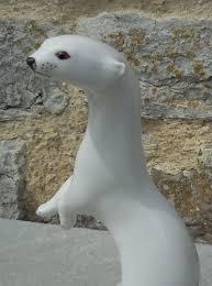 gorgeous vintage lomonosov russian porcelain winter stoat figurine