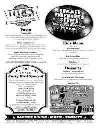 bayside dining menu u2014 louie u0027s backyard