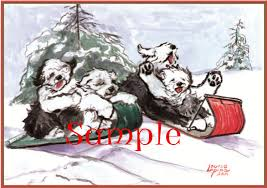 old english sheepdog rescue christmas cards