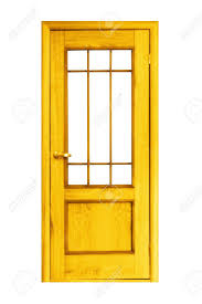 yellow wooden door isolated on white background stock photo
