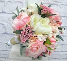 Fake Wedding Flowers Pink Cream Peony Rose Wedding Bouquet Bride In Bloom