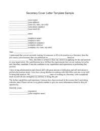 ideas collection cover letter for secretary administrator for job