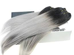 grey hair extensions black grey hair weave two tone ombre 1b silver gray