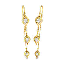 sui dhaga earrings diamond yellow gold 18k the spindle sui dhaga candere